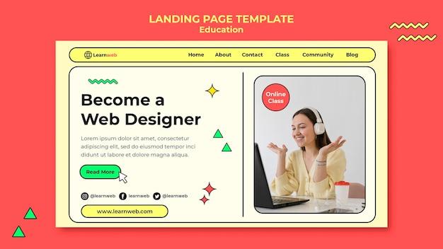 Page de destination de l'atelier de conception web