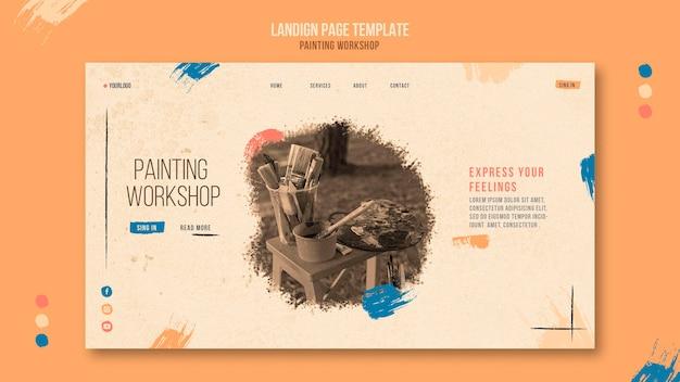 Page de destination de l'atelier de peinture avec photo