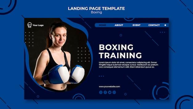 Page de destination de boxe et d'entraînement
