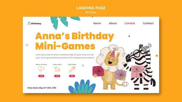 Page de destination de la célébration d'anniversaire