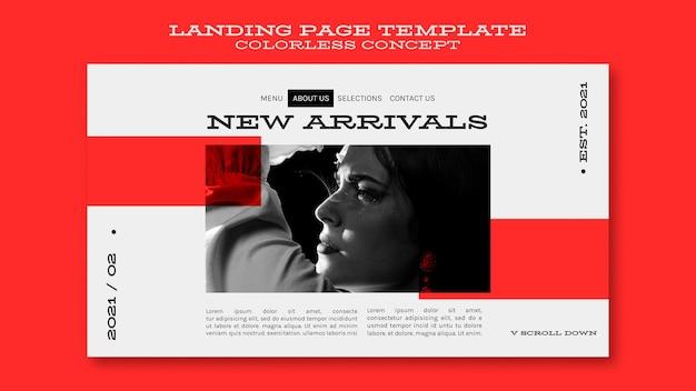 Page de destination de concept incolore