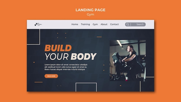Page de destination de conception de modèle de gym