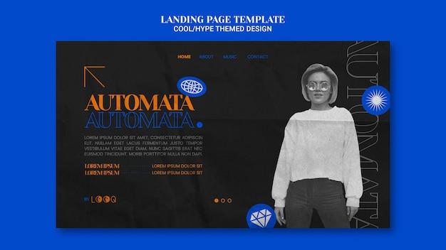 Page de destination de conception à thème cool