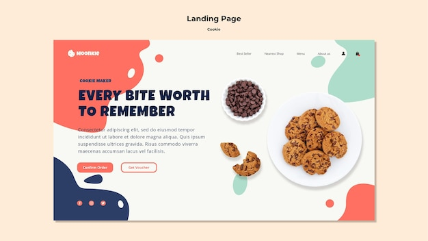 Page de destination avec cookies