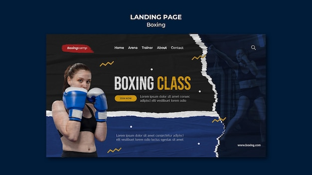 Page de destination des cours de boxe