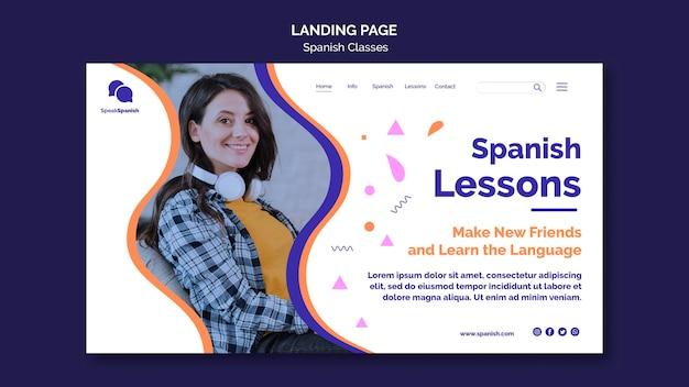 Page de destination des cours d'espagnol