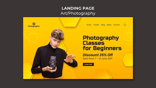 Page de destination des cours de photographie