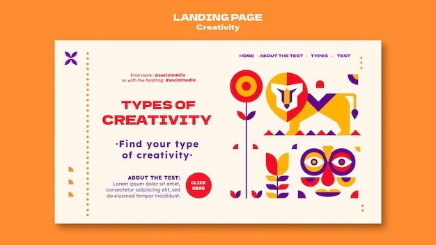 Page de destination de la créativité