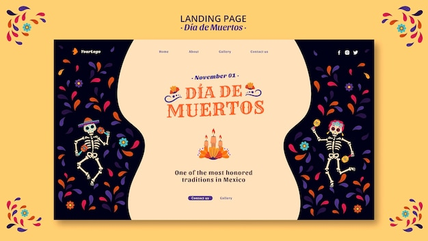Page de destination de la culture dia de muertos mexique