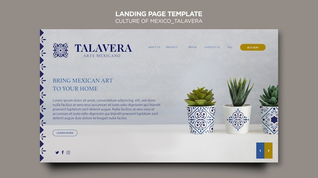 Page de destination de la culture du mexique talavera
