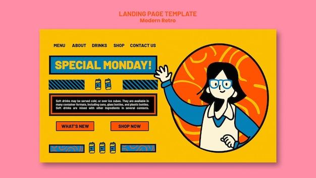Page de destination avec un design vintage moderne pour les boissons gazeuses