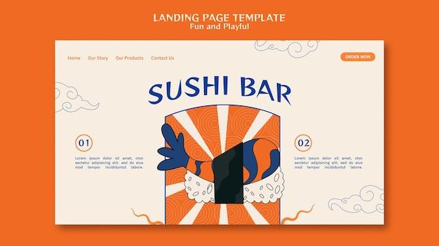 Page de destination du bar à sushi