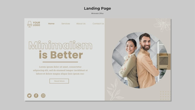 Page de destination du bureau minimaliste