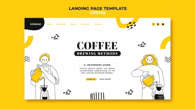 Page de destination du café