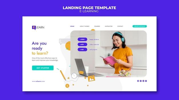 Page de destination du concept d'apprentissage en ligne