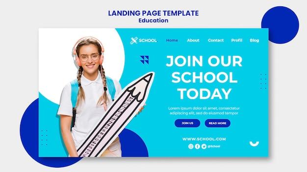 Page de destination du concept d'éducation