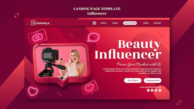 Page de destination du concept d'influenceur