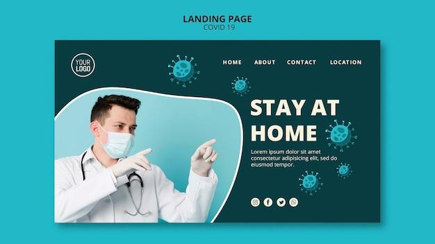 Page de destination du coronavirus avec photo