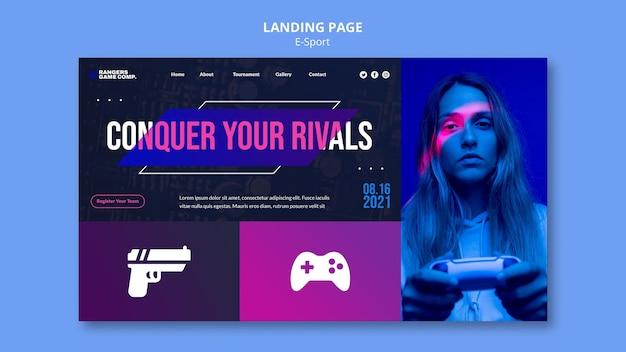 Page de destination du défi e-sport