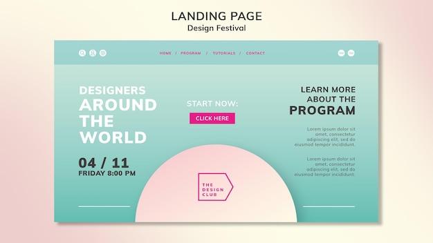 Page de destination du festival de design