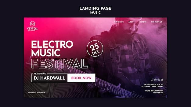 Page de destination du festival de musique électro
