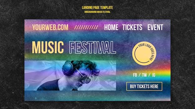 Page de destination du festival de musique underground