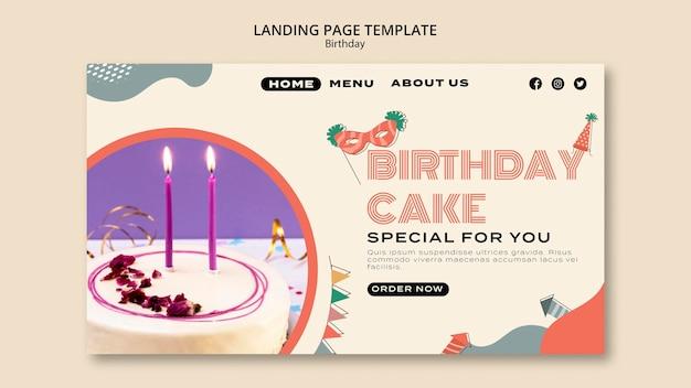 Page de destination du gâteau d'anniversaire