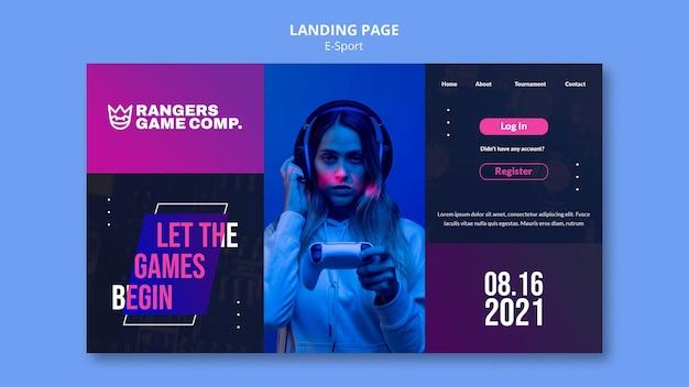 Page de destination du joueur de jeu vidéo