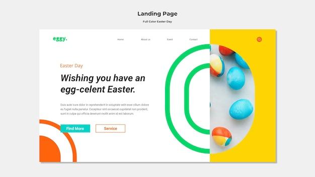 Page de destination du jour de pâques avec des détails colorés
