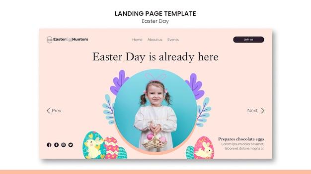 Page de destination du jour de pâques avec photo