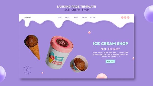 Page de destination du magasin de crème glacée