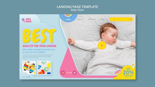 Page de destination du magasin pour bébé