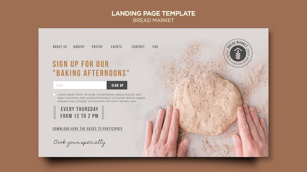 Page de destination du marché du pain