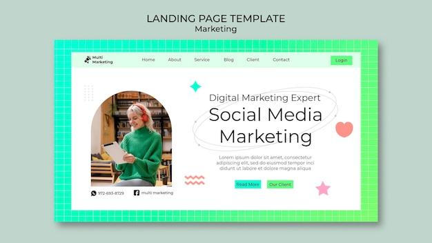 Page de destination du marketing des médias sociaux