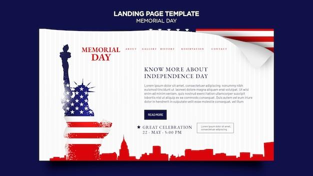 Page de destination du memorial day avec drapeau