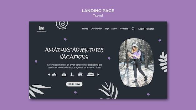Page de destination du modèle d'agence de voyage