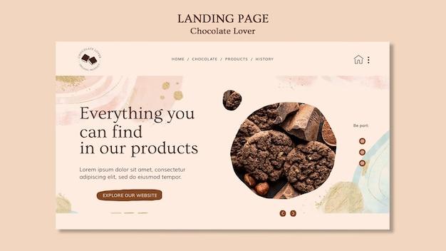Page de destination du modèle d'amant de chocolat