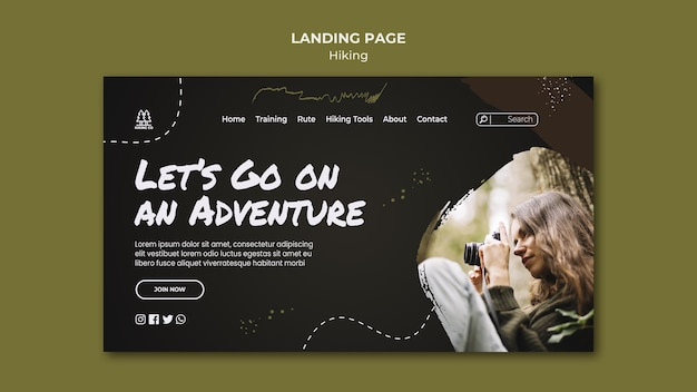 Page de destination du modèle d'annonce de randonnée