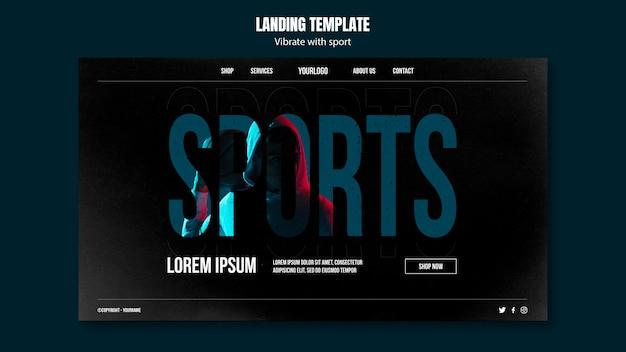 Page de destination du modèle d'annonce sportive