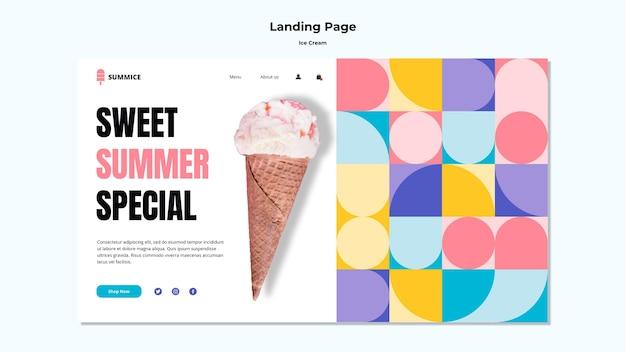 Page de destination du modèle de crème glacée