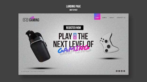 Page de destination du modèle de jeu de réalité virtuelle