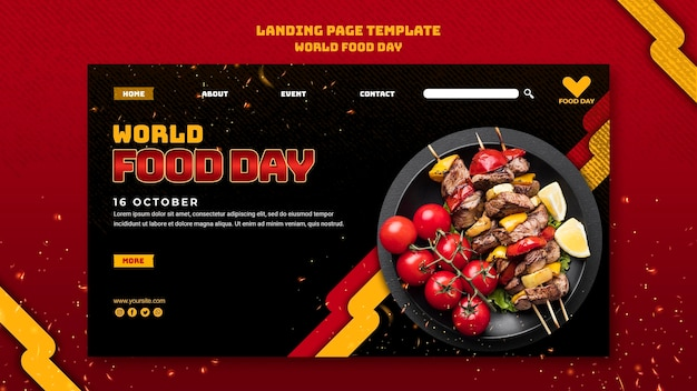 Page de destination du modèle de la journée mondiale de l'alimentation