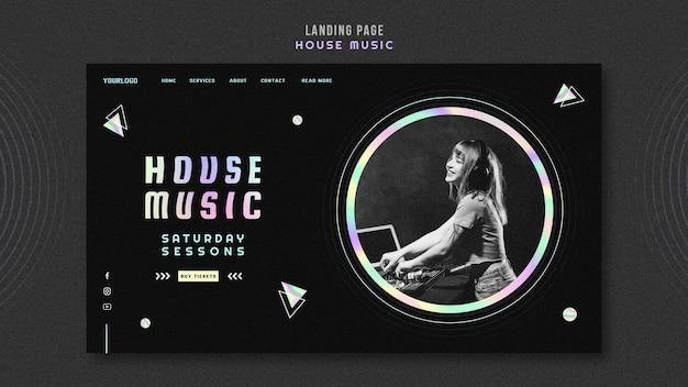 Page de destination du modèle de musique house