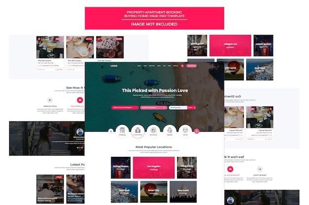Page de destination du modèle de site de réservation de voyage réactif