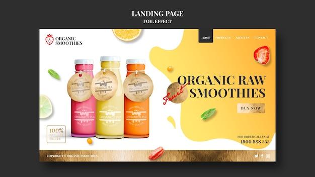 Page de destination du modèle de smoothies biologiques