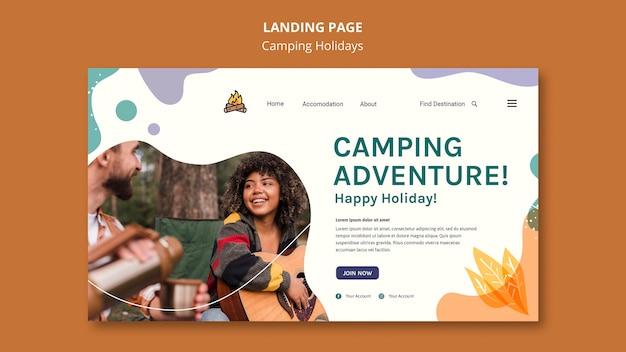 Page de destination du modèle de vacances en camping