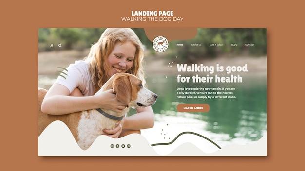 Page de destination du modèle walking the dog day