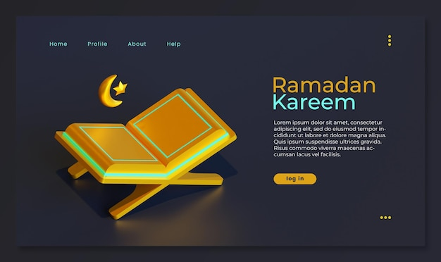 Page de destination du ramadan kareem avec rendu 3d du coran