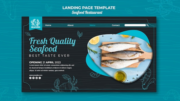 Page de destination du restaurant de fruits de mer