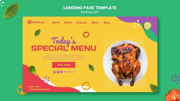 Page de destination du restaurant avec photo